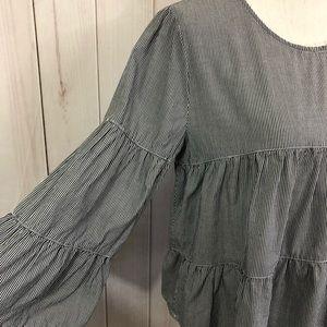 E hanger M Tops - E hanger M striped ruffle blouse - large